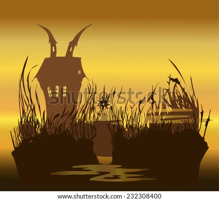 Misty Swamp Mansion Environment at Dusk, Vector Illustration, each component on Separated Layer.  - stock vector