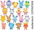 mix animal dolls clip art - stock vector
