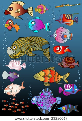 mix fishes - stock vector