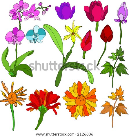 mix flowers - stock vector