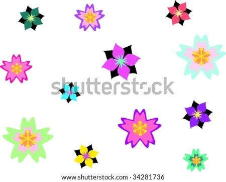 Mix of Asian Style Flowers and Designs Vector