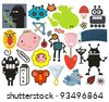 Mix of different vector images and icons. vol.39 - stock vector