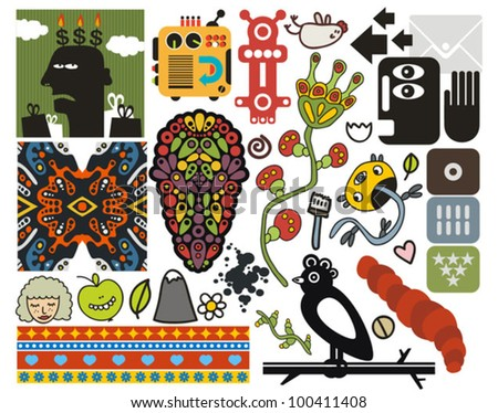 Mix of different vector images and icons. vol.48 - stock vector