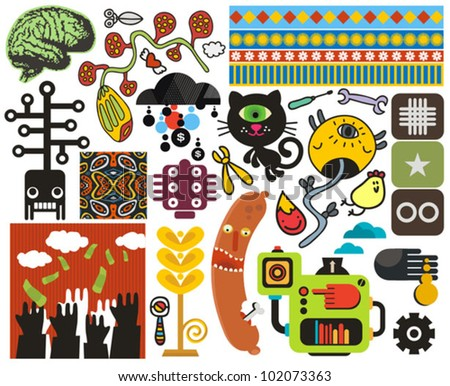 Mix of different vector images and icons. vol.50