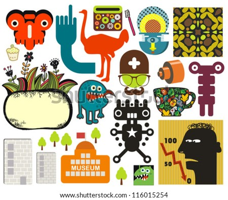 Mix of different vector images and icons. vol.60