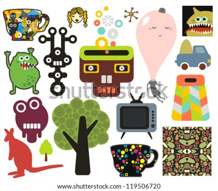 Mix of different vector images and icons. vol.63 - stock vector