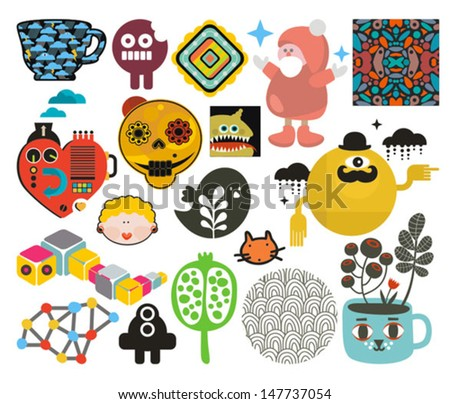 Mix of different vector images and icons. vol.66 - stock vector