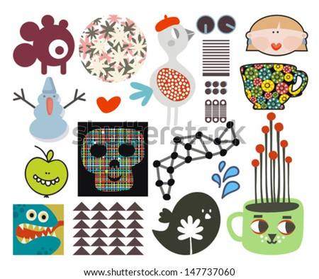 Mix of different vector images and icons. vol.68 - stock vector