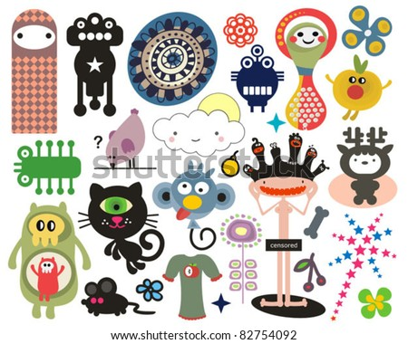 Mix of different vector images and icons. vol.16 - stock vector