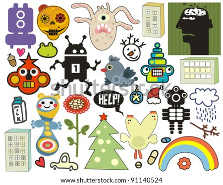 Mix of different vector images and icons. vol.36 - stock vector
