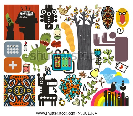 Mix of different vector images and icons. vol.47 - stock vector