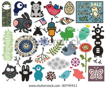 Mix of different vector images. vol.11 - stock vector