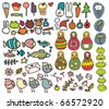 Mix of doodle images in vector. vol. 3 - stock vector