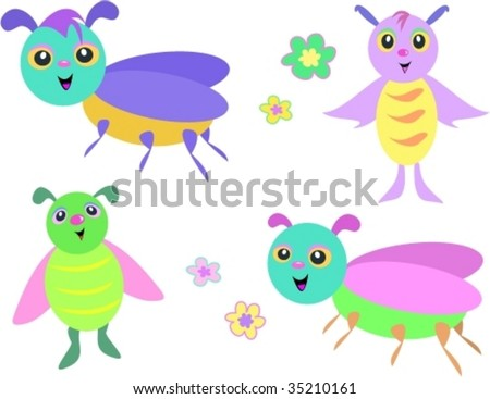 Mix of Flying Bugs Vector