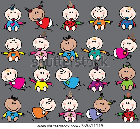 mixed adorable ethnic babies seamless background - stock vector