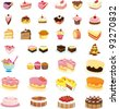 mixed cakes and dessert illustrations - stock vector