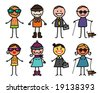 mixed characters 4 - stock vector