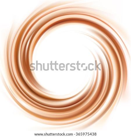 Mixed dark beige curvy shape - stock vector