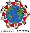 mixed ethnic children love - stock vector