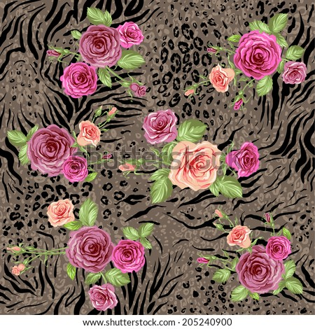 Mixed floral seamless pattern on animal backdrop - stock vector