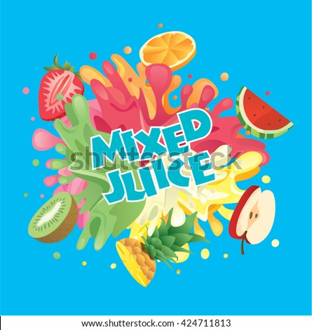 Mixed fruit juice splash with strawberry, orange, watermelon, apple, pineapple and kiwi
