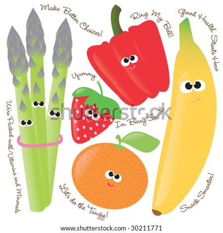 Mixed fruits & vegetables vector set 1 - stock vector