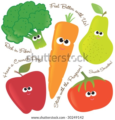 Mixed fruits & vegetables vector set 2 - stock vector