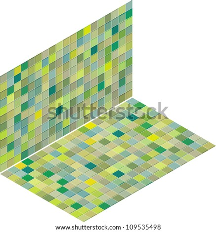 mixed green tiled wall floor pavement - stock vector