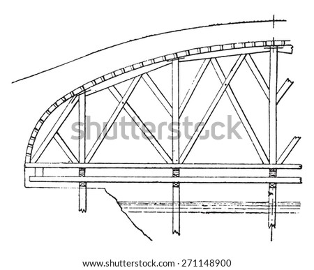 Mixed hanger basket-handle arch on river, vintage engraved illustration. Industrial encyclopedia E.-O. Lami - 1875.
