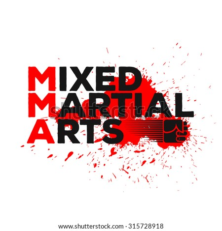 Mixed Martial Arts logo, emblem, badge. Combat sport theme. Template for your t-shirt, cover or some art works. - stock vector