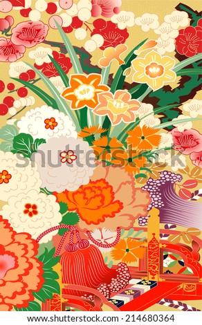 mixed season kimono motifs - stock vector
