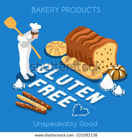 Mixed Types of Gluten Free Fragrant Bread. Flat 3d Isometric People Set Collection Colorful Concept Fresh Bakery Products. Simply Delicious Taste Home JPG JPEG Image Drawing Object Vector EPS 10 AI - stock vector