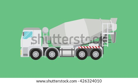 mixer truck single isolated with green background vector graphic illustration