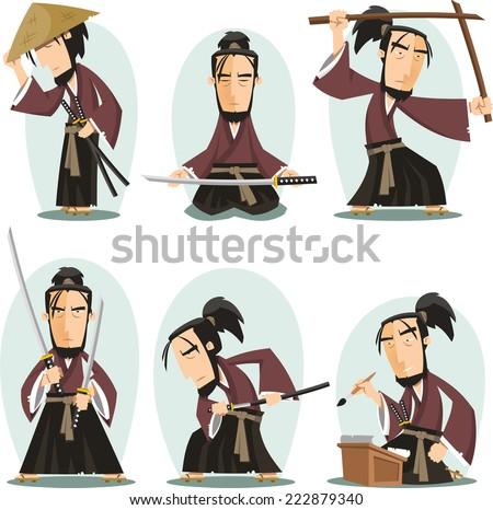 Miyamoto musashi Japanese Samuai Swordsman, vector illustration cartoon. - stock vector