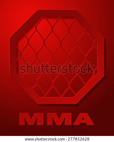 MMA Cage Octagon Sign on a Red Background, Vector Illustration.  - stock vector