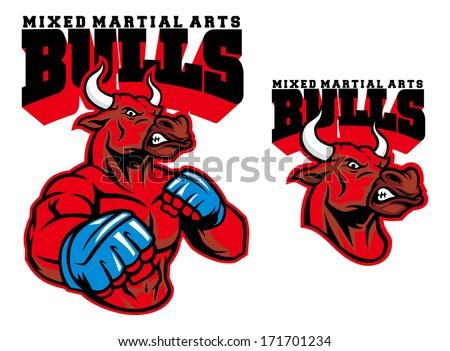MMA fighter bull - stock vector