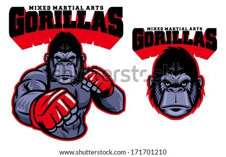 MMA fighter gorilla - stock vector