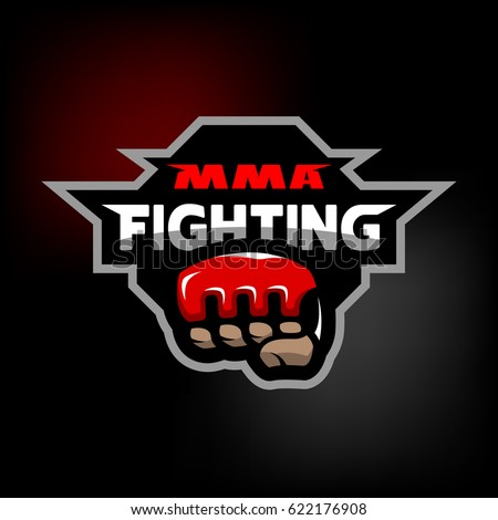 mixed martial arts logo on dark stock vector 627220382 shutterstock. Black Bedroom Furniture Sets. Home Design Ideas