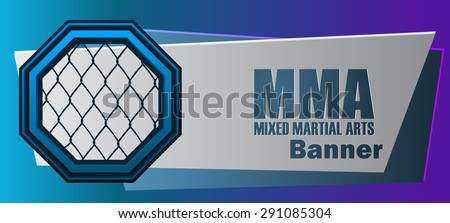 MMA Mixed Martial Arts Blue and Violet Banner, Vector Illustration.  - stock vector