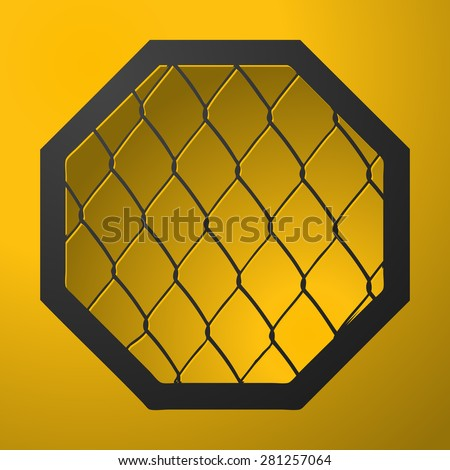 MMA Octagon Cage Sign on a Yellow Background, Vector Illustration.  - stock vector