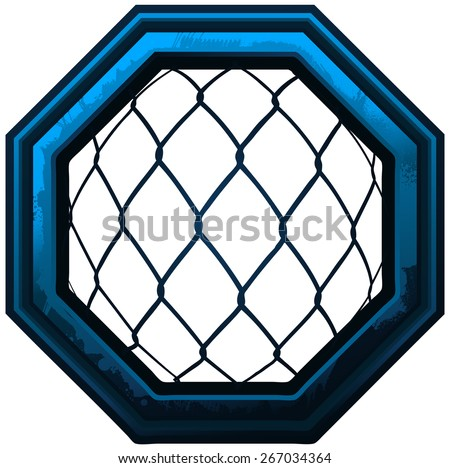 MMA Octagon Cage Sign, Vector Illustration isolated on White Background.  - stock vector