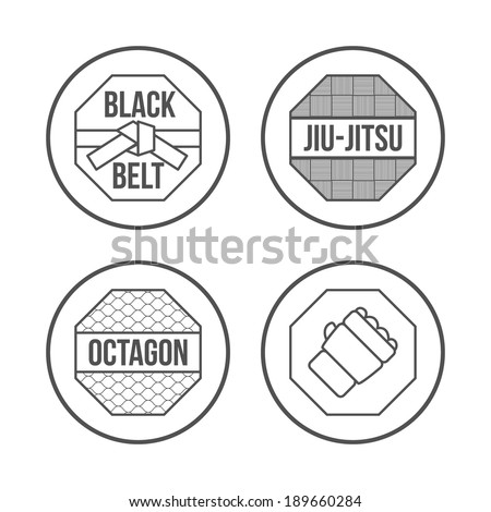 MMA Sport icons set. Thin Line Style. Vector - stock vector