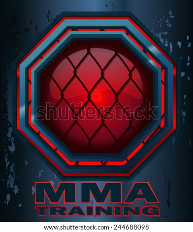 MMA Training Cage Octagon Sign with a Red Glow on a Steel Grunge Metal Background, Vector Illustration. - stock vector