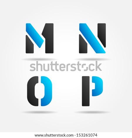 MNOP blue - stock vector