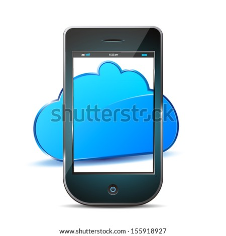 mobile and cloud isolated in colors black and blue