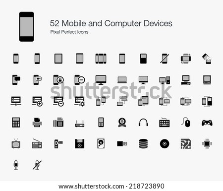 Mobile and Computer Devices Pixel Perfect Icons - stock vector