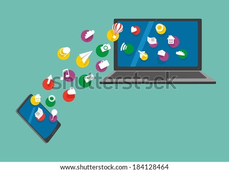 Mobile and notebook connection. Mobile phone and laptop with share information - stock vector