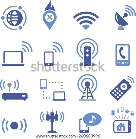 Mobile and wireless communication icon set.