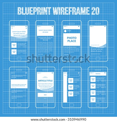 Mobile App Blueprint Wireframe Ui Kit 20. Article post main screen, article read screen, user profile articles list screen, main photo with headline screen, post list screen, article title screen. - stock vector