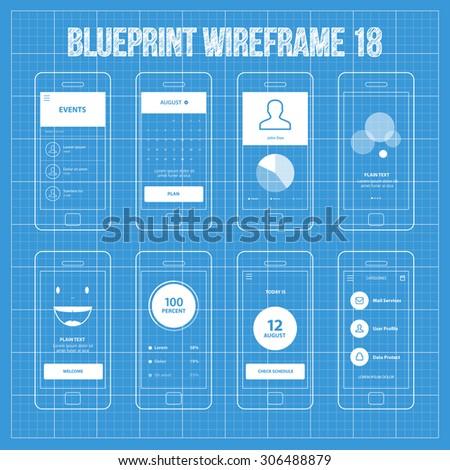 Mobile app blueprint wireframe ui kit stock vector 306488879 mobile app blueprint wireframe ui kit 18 events screen calendar screen piechart statistic malvernweather Choice Image